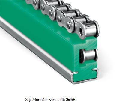 Prowadnice do łańcuchów rolkowych typ ETA z profilem stalowym