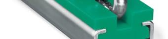 Prowadnice do łańcuchów ogniwowych typ CRU z profilem stalowym