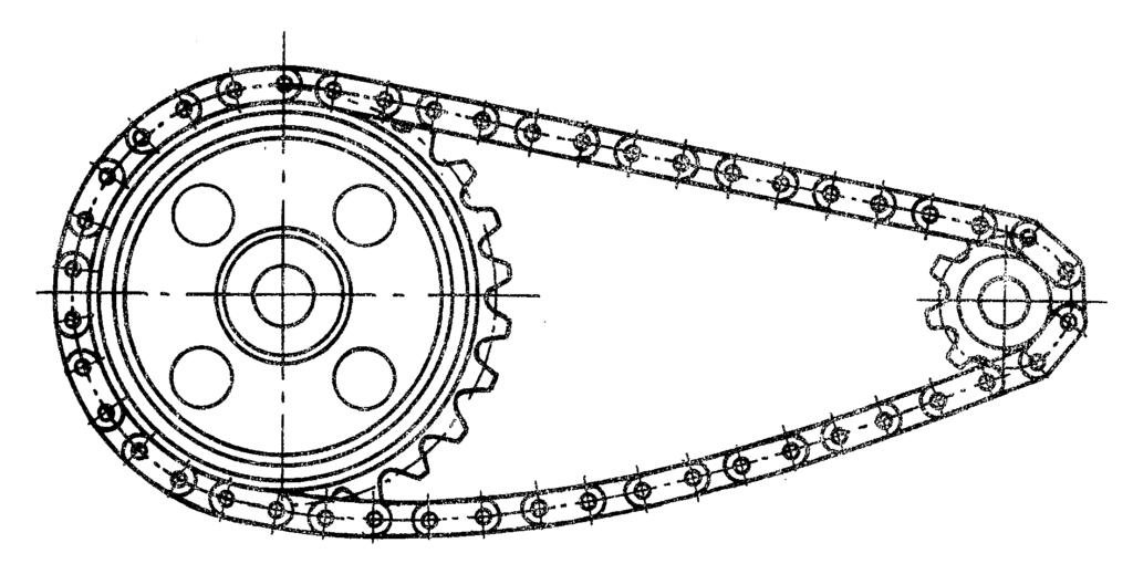 Schemat przekładni łańcuchowej